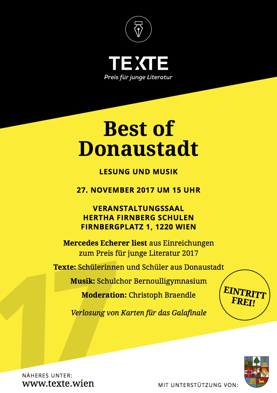 Best of Donaustadt: Hertha Firnberg Schulen im Zeichen junger Literatur aus der Donaustadt